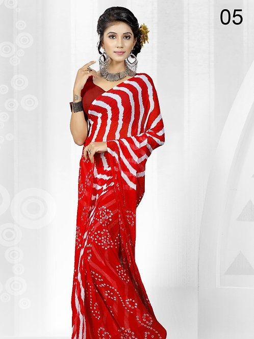 05 Red Exclusive Designer Laheriya Sarees
