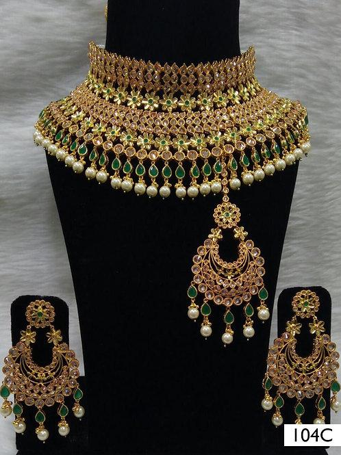 104C Green Bridal Wear Necklace Set With Maang Tika