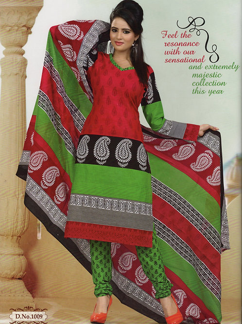 1009Red and OliveGreen Daily Wear Printed Cotton Salwar Suit
