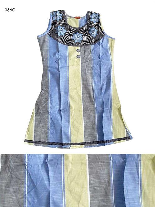 066C Royal Blue and Light Yellow Designer Cotton Kurtis