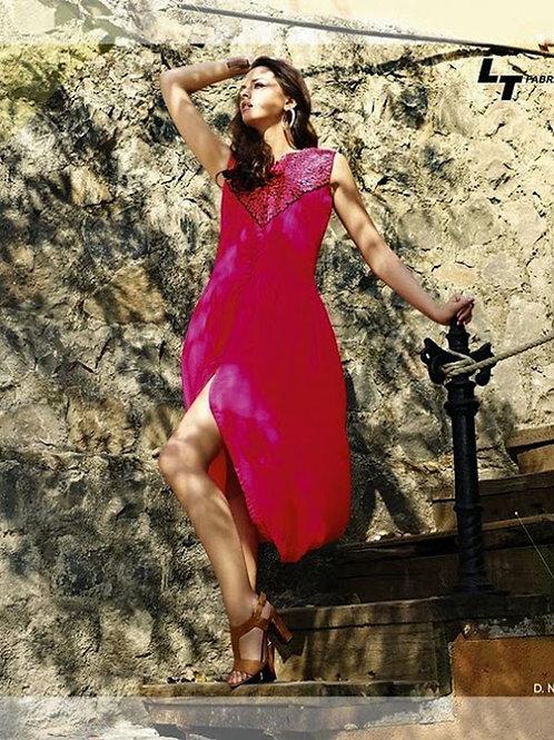 01 Deep Pink Designer Georgette Embroidered Kurti