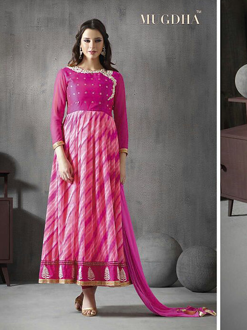 10020Magenta and Pink Silk/Chiffon/Georgette Party Wear Anarkali Suit