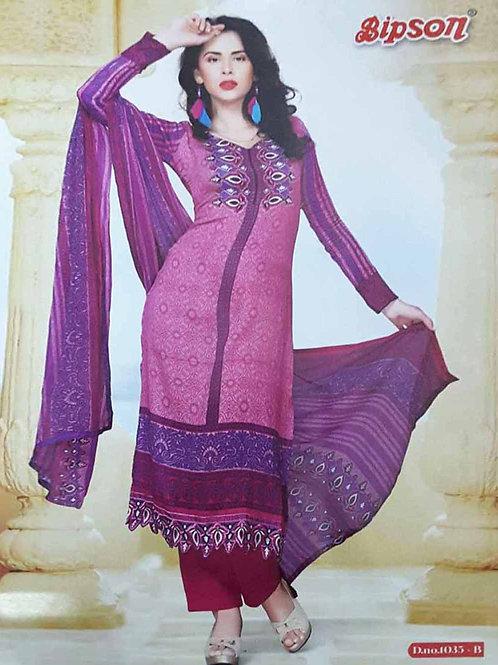 1035B Magenta Cotton Straight Suit