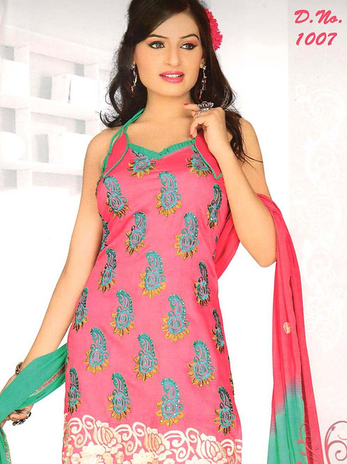 1007 HotPink and Spring Green Georgette Straight Suit