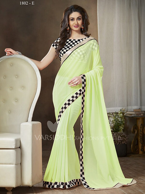 1802E LightGreen and Black Party Wear Georgette Saree