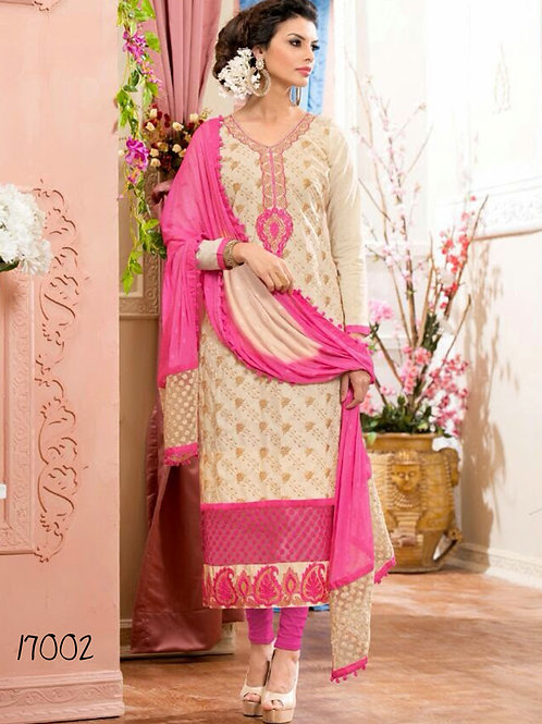 17002 Ivory and Pink Straight Suit