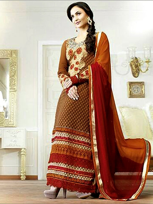 10602Chocolaty and Maroon Georgette Straight Suit