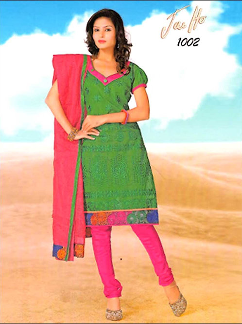 1002Green and DeepPink Chanderi Chudidar Suit