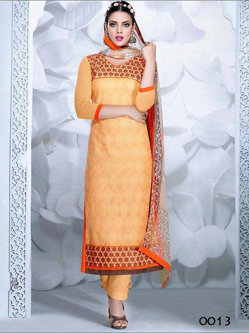 0013 Light Orange and Orange Cambric Cotton Straight Suit