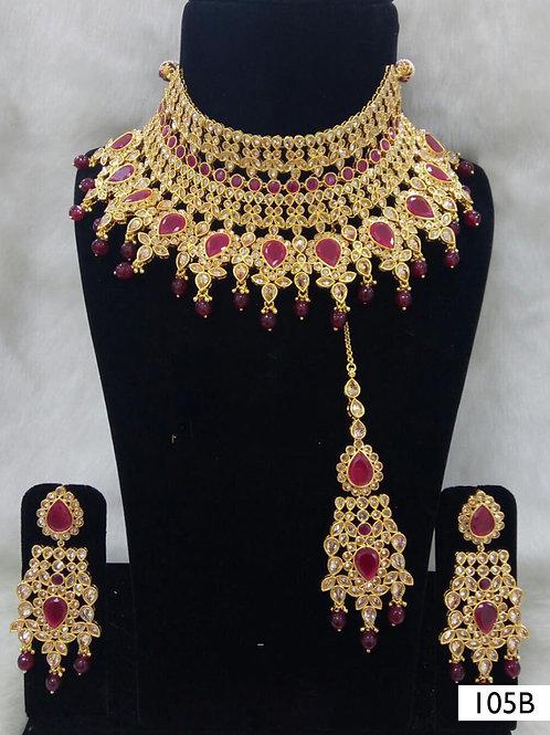 105B Maroon Pearl Bridal Wear Necklace Set With Maang Tika