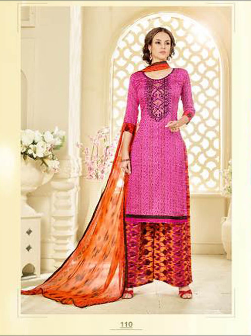 110Magenta Designer Glace Cotton Plazo Suit
