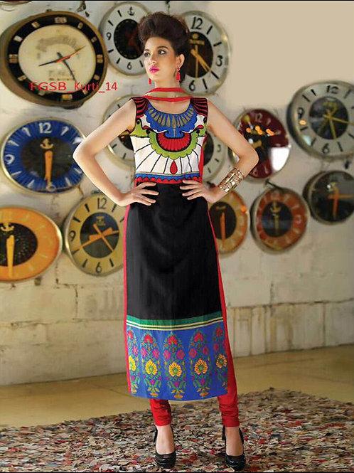 14White and Multicolor Printed Designer Kurti