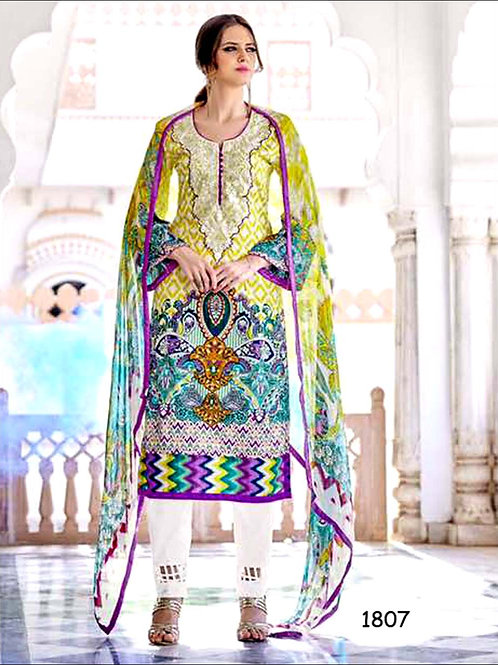 1807YellowGreen and Multicolor Designer Straight Suit