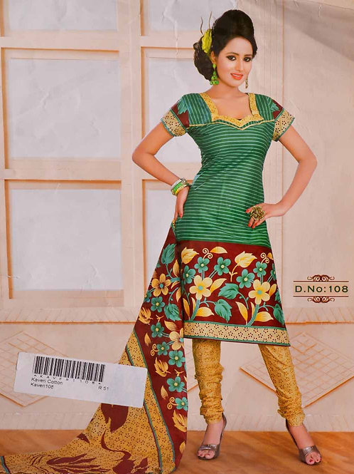 108 Green and Brown Printed Salwar Suit