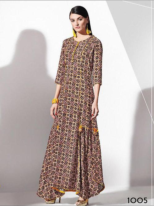 1005 Yellow and Multicolor Designer Rayon Kurti
