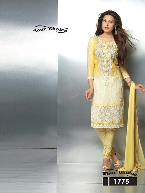1775 Light Yellow Party Wear Nazneen Straight Suit