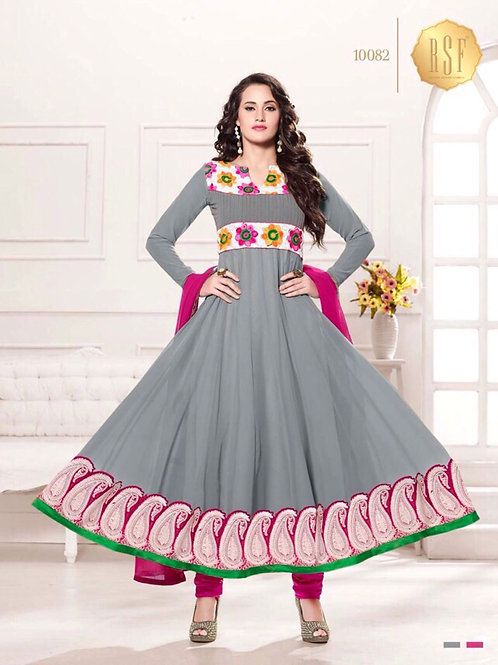 10082Gray and Magenta Party Wear Georgette Anarkali Suit