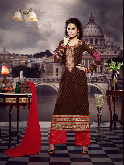 10107Dark Brown and Red Brasso Straight Suit
