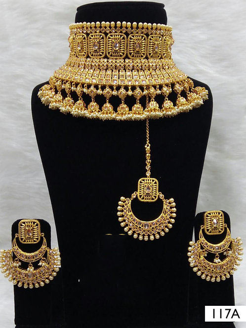 117A Golden Bridal Wear Necklace Set With Maang Tika