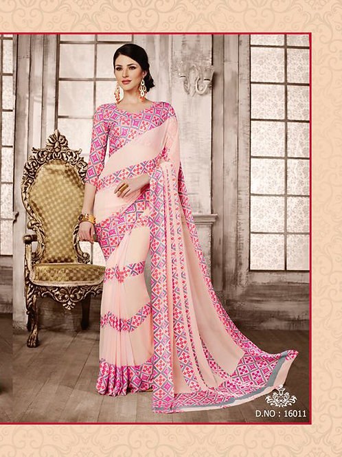 16011Beige and Pink Exclusive Function Wear Georgette Saree