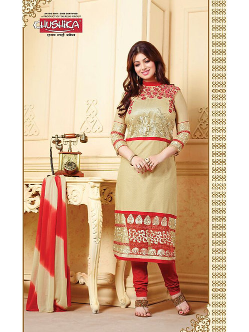 10010 Beige and Red Cotton Straight Suit