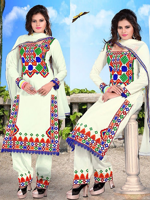 02 White and Multicolor Patiyala Replica Suit