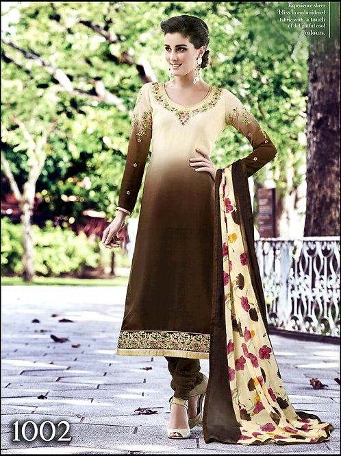 1002 Ivory and Coffee Brown Exclusive Designer Straight Suit
