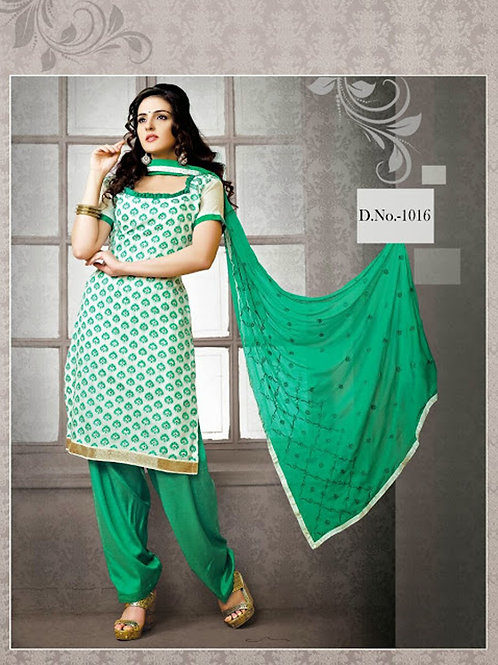 1016 Ivory and Green Chudidar Suit