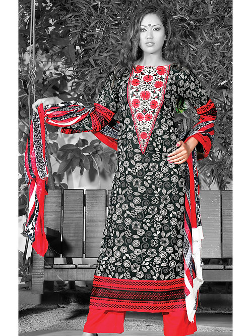 0949A Black Red and White Cotton Palazzo Suit