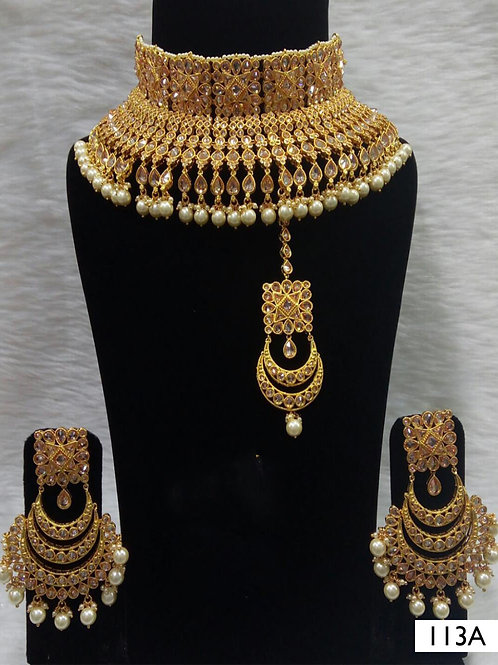 113A Golden Bridal Wear Necklace Set With Maang Tika