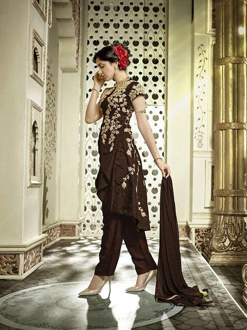 1203 Brown and Cream Banglori Silk Designer Suit