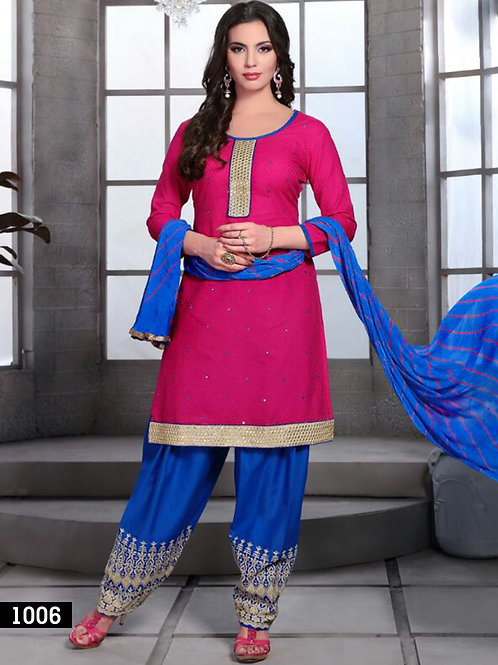 1006 Bright Pink and Royal Blue Cotton Jacquard Daily Wear Salwar Suit