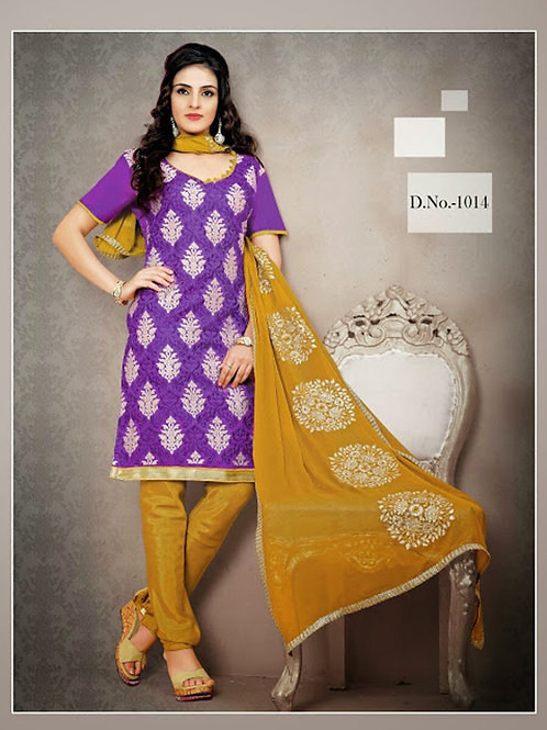 1014 Violet and Chrome Yellow Chudidar Suit
