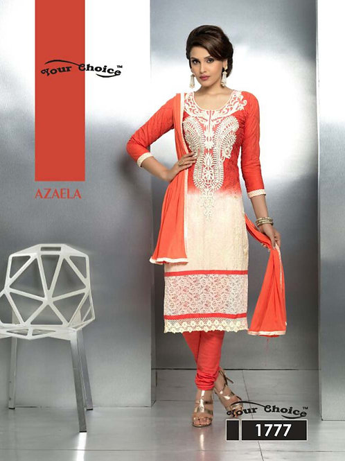 1777 Firebric Red and Ivory Party Wear Nazneen Straight Suit
