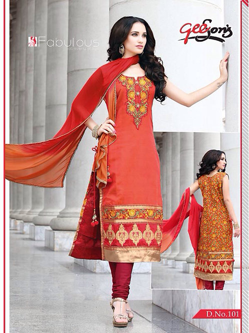 101CarrotRed and DarkRed Chanderi Straight Suit