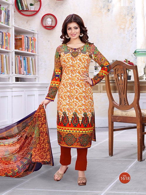 1618Ivory and Multicolor Printed Lawn Cotton Party Wear Straight Suit
