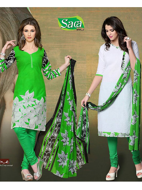 09 Green and White Chudidar Suit