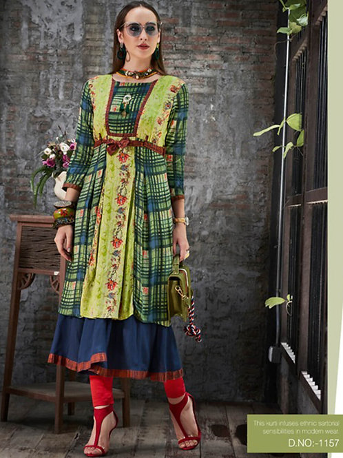 1157 Pista Green and Blue Designer Gown Style Stitched Kurti