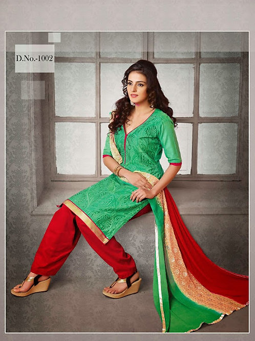 1002 Light Green and Red Chudidar Suit