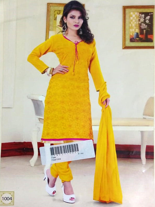1004 Yellow Designer Daily Wear Salwar Suit