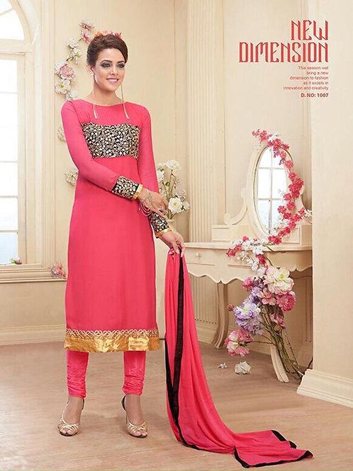 1007 Pink Georgette Designer Suit