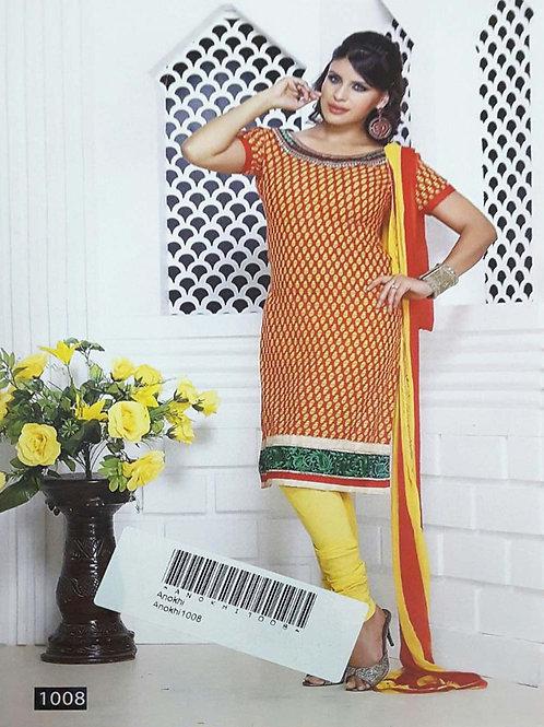 1008 Red Designer Printed Salwar Suit