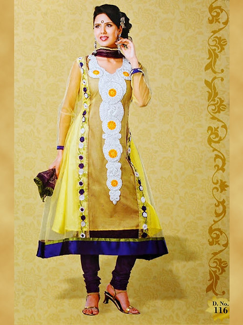 116LightYellow and Blue Georgette Designer Suit