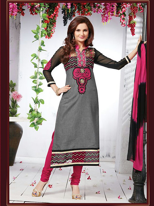 1109 Gray and Magenta Cotton Straight Suit