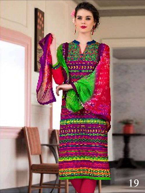 19 Purple and Multicolor Cotton Straigt Suit