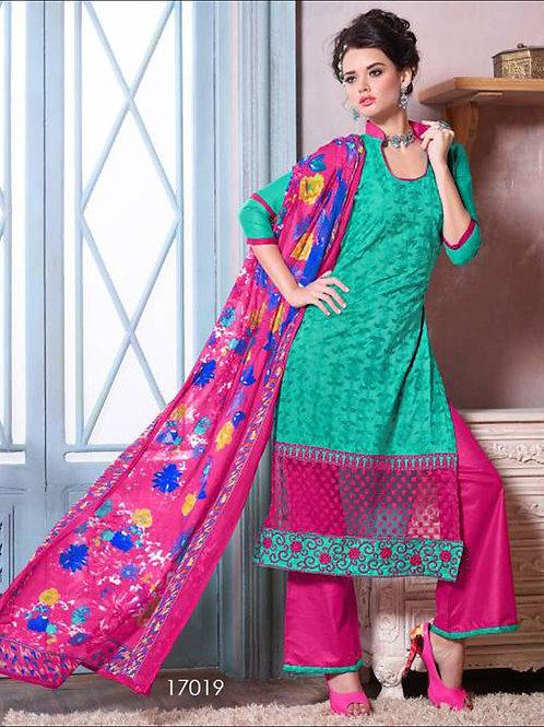 17019Caribbean Green Designer Plazo Suit
