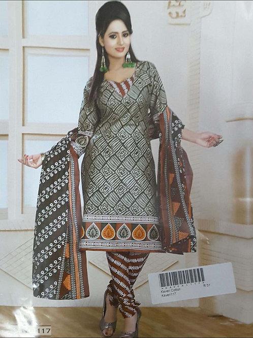117 Olive Green Printed Salwar Suit
