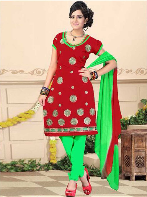 1003 Dark Red and Green Yellow Daily Wear Chanderi Salwar Suit