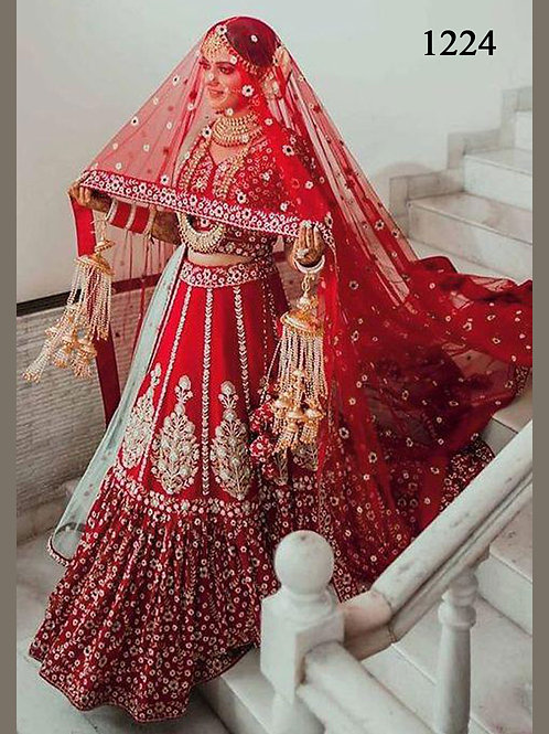 1224 Red Designer Bridal Wear Georgette Heavy Work Lehenga