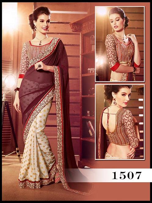 1507Dark Scarlet and Off white Designer Saree